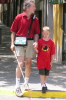 Mike and his son using BrailleNote GPS in Spain